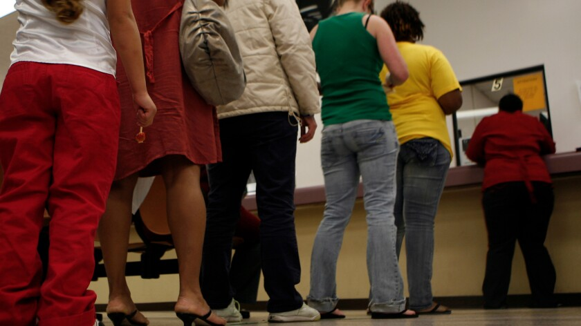 A long line at the County Of Los Angeles Department of Public Social Services office in Rancho Dominguez on November 6, 2009.
