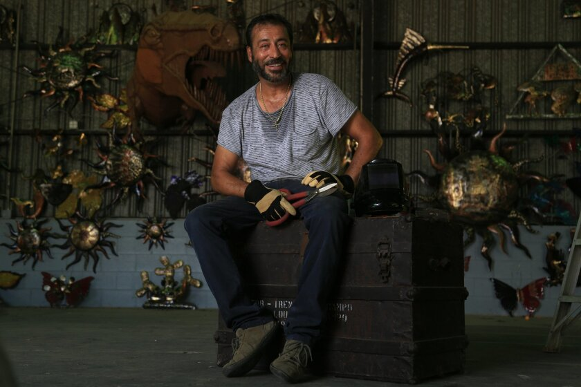 Metal sculptor Ricardo Breceda at his workshop in Temecula at the Vail Lake Resort on Highway 79. A new owner has taken control of the resort and has given Breceda 90 days to vacate. Breceda is now in the process of buying land about 7 miles away along 79 but plans to take his iconic metal horse s