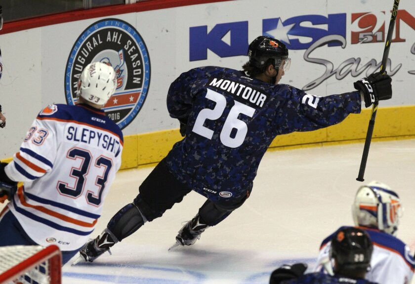 Brandon Montour, pictured here in a game last week, scored in the Gulls' 7-4 loss to Grand Rapids on Friday.
