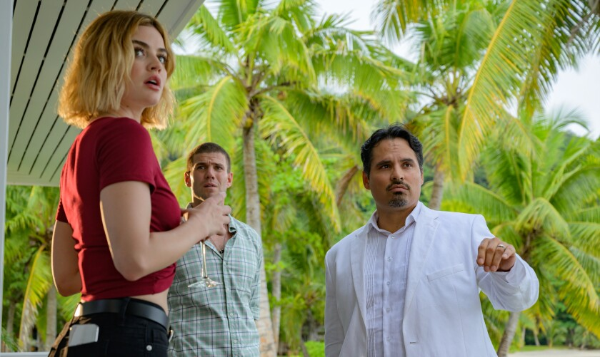 Lucy Hale, Austin Stowell and Michael Peña in the movie 'Fantasy Island'