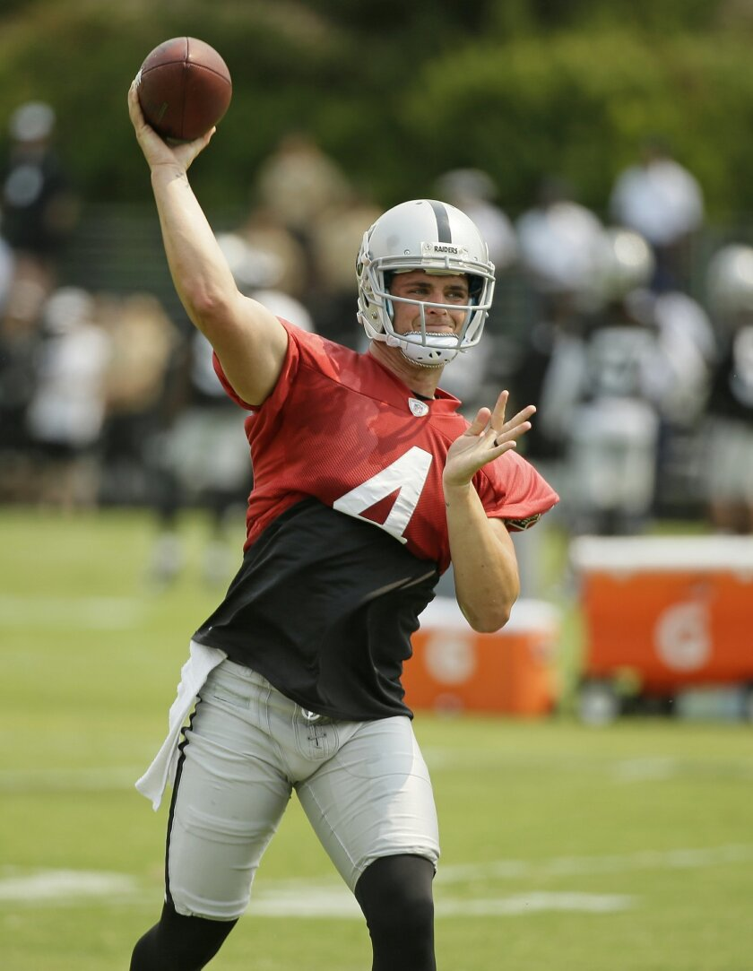 Oakland Raiders quarterback Derek Carr throws the ball during their football training camp Friday, July 31, 2015, in Napa, Calif. (AP Photo/Eric Risberg)