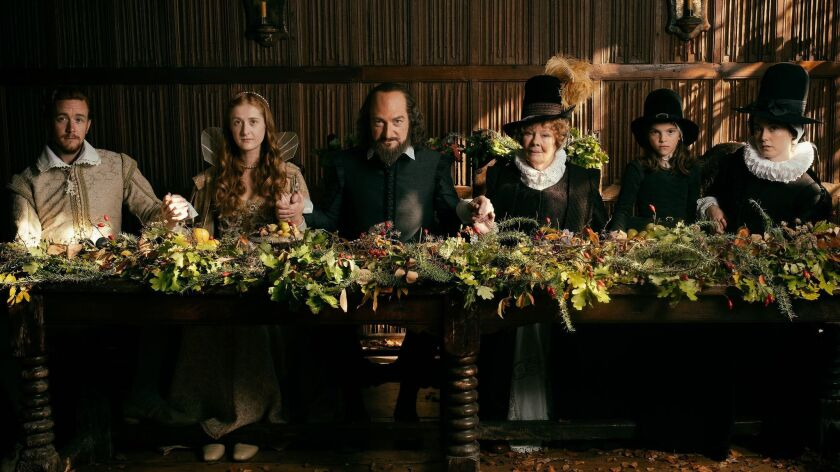 (L-R) - Jack Colgrave Hirst as Tom Quiney, Kathryn Wilder as Judith Shakespeare, Kenneth Branagh as