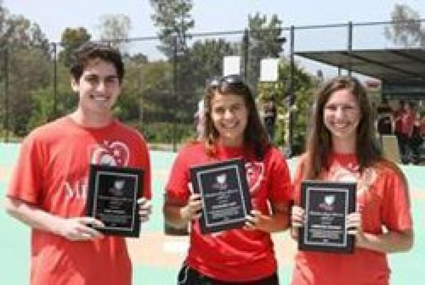 Scholarship/award recipients: Niko Gegakis, Torrey Pines High School, Stephanie Saap, Pacific Ridge School and Christine Shuman, La Costa Canyon High School.