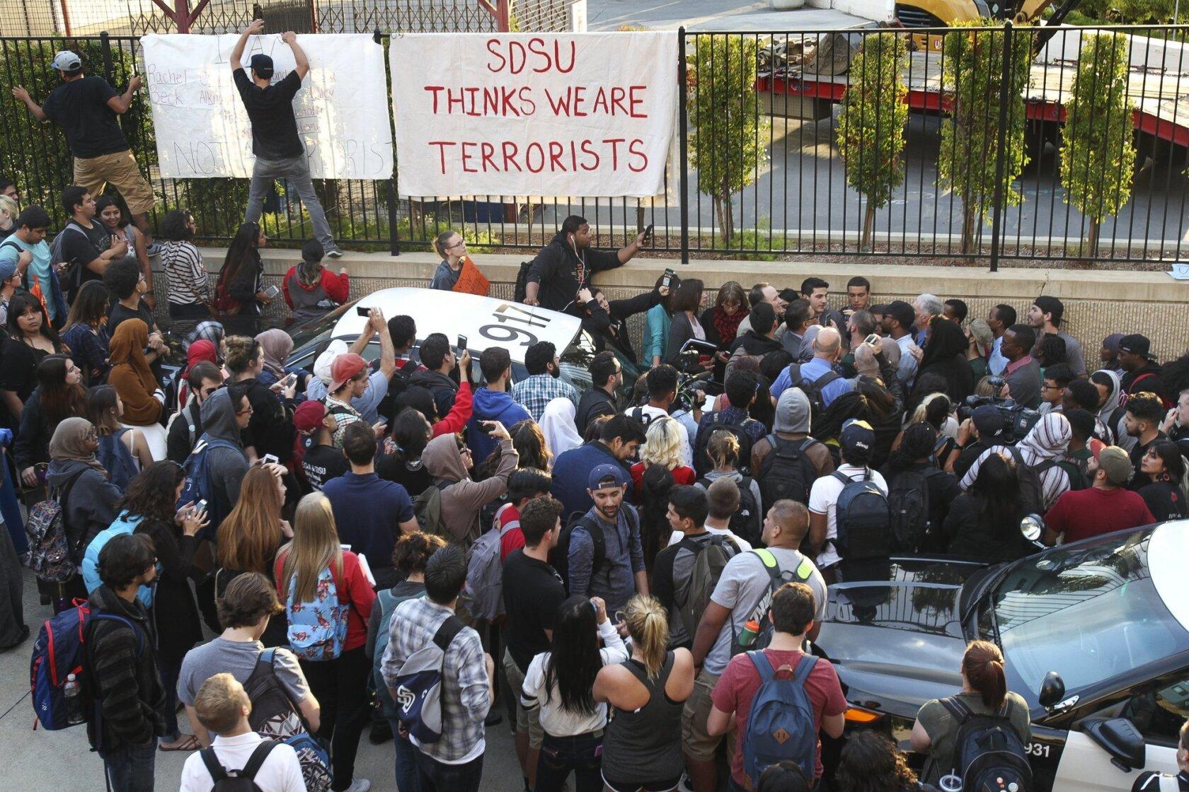 Terrorism' fliers spark SDSU protest - The San Diego Union-Tribune