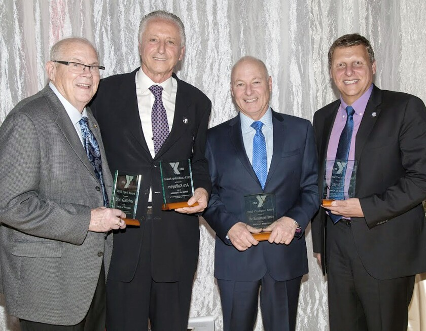 Gathering for a photo at a fundraising gala for the YMCA of Glendale are, from left to right, Don Galleher, who received the Spirit Award; Ara Kalfayan, chairman of the board of directors of the YMCA of Glendale, who received the Leadership Award; Steve Bussjaeger, president of the Gregg Bussjaeger Foundation with the Champion Award; and Glendale Mayor Ara Najarian, who accepted the Partnership Award on behalf of the city of Glendale.