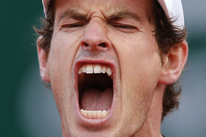 Britain's Andy Murray reacts after winning a game in the third set as he plays Radek Stepanek of the Czech Republic during their first round match of the French Open tennis tournament at the Roland Garros stadium, Monday, May 23, 2016 in Paris. (AP Photo/Christophe Ena)