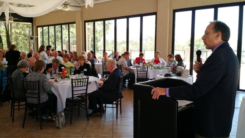 """Grossmont Healthcare District CEO Barry Jantz shares thoughts on the district and its honored """"Healthcare Heroes"""" at an awards luncheon Wednesday at Steele Canyon Golf Course in Jamul."""