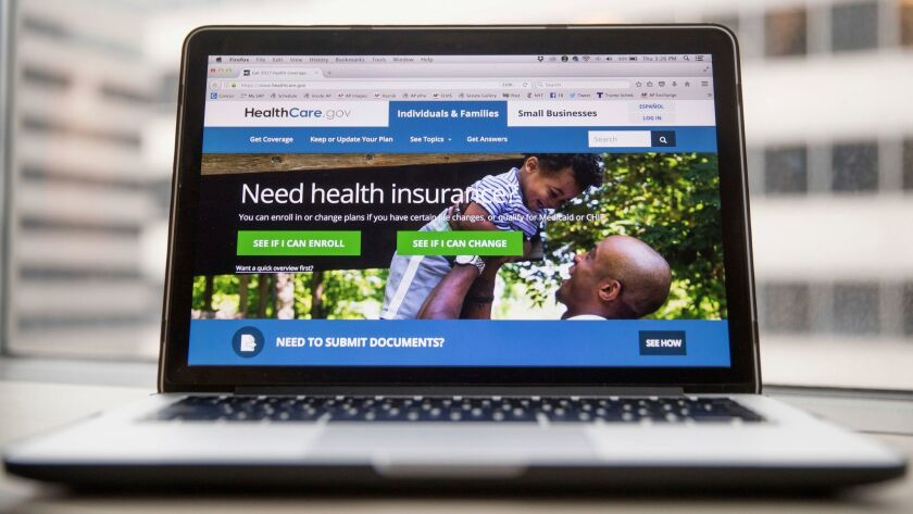 The HealthCare.gov website, where individuals can buy health insurance, on March 24.