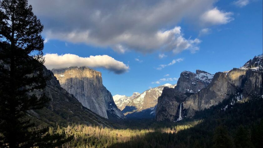 Yosemite Valley, seen from the Tunnel View, is an everchanging tabloid of light and weather.