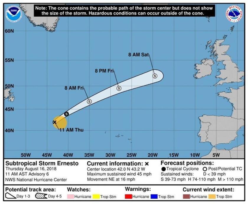 Gráfico cedido por el Centro Nacional de Huracanes estadounidense con sede en la Florida (NHC), donde se muestra la trayectoria de tres días de la tormenta subtropical Ernesto, que se encuentra a 606 millas (975 kilómetros) al sureste del Cabo de Race, en Terranova (Canadá), y se desplaza rápidamente hacia el norte-noreste con una velocidad de traslación de 13 millas por hora (20 km/h). EFE/Cortesía NHC-NOAA/SOLO USO EDITORIAL/NO VENTAS
