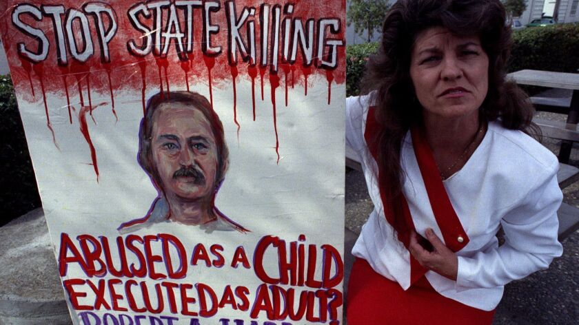 Janice Gay demonstrated outside San Quentin against the execution of Robert Alton Harris in 1992.