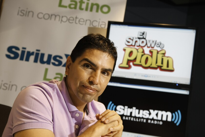 """A Los Angeles County Superior Court judge has dismissed a civil extortion lawsuit that Eduardo """"Piolin"""" Sotelo filed against six former staff members. Sotelo is pictured here in October 2013 at his new SiriusXM satellite radio studio."""