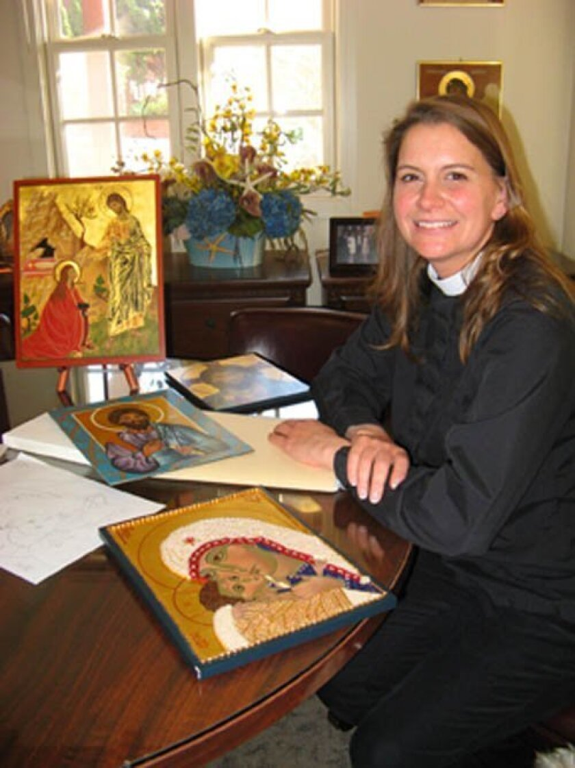 The Rev. Paige Blair, in her office at St. Peter's Church, surrounded by some of her icons.  Lonnie Burstein Hewitt