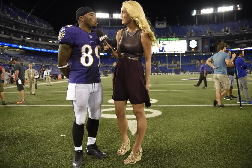 ESPN reporter Britt McHenry in Baltimore last season. ESPN suspended McHenry after a video surfaced of her insulting a towing company clerk. McHenry has been suspended for a week.