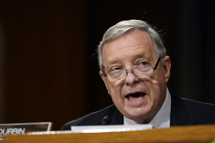 Sen. Dick Durbin, D-Ill., speaks during a Senate Judiciary Committee hearing on Capitol Hill in Washington, Tuesday, Nov. 10, 2020, on a probe of the FBI's Russia investigation. (AP Photo/Susan Walsh, Pool)