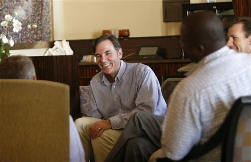 A product of Mt. Carmel High and UCSD, general manager Billy Beane was beating big-money teams with his low-budget Oakland Athletics for years before a book and movie made him far more famous. (AP Photo/Lenny Ignelzi)