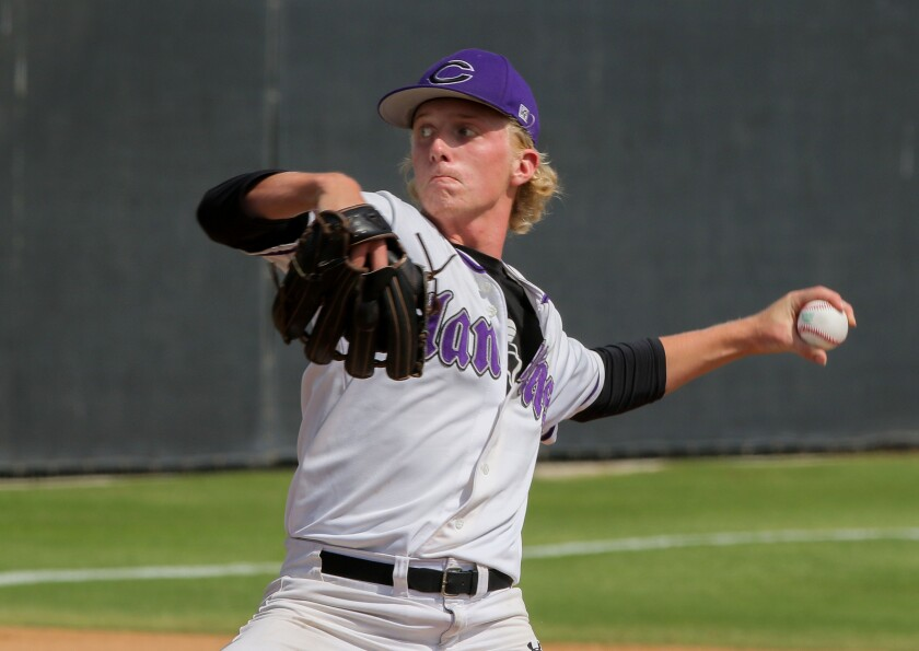 Carlsbad pitcher Coby Knight fires to the plate.
