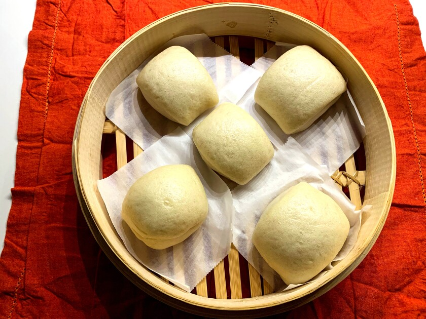 Unbleached flour gives these buns a cream-colored hue.