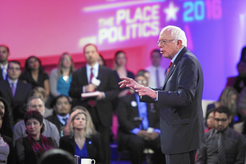Bernie Sanders went first at the town hall in Las Vegas