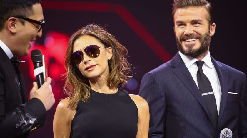 Victoria and David Beckham, take part on Thursday in the countdown gala in Shenzhen, China.