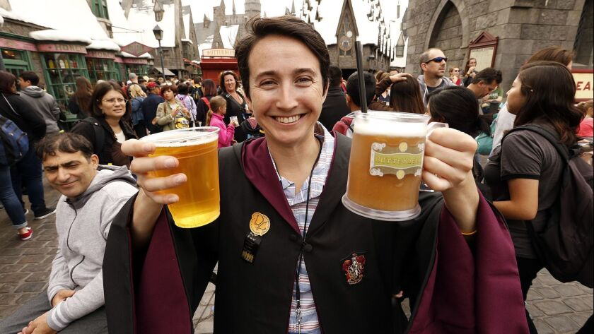 LOS ANGELES, CA - APRIL 07, 2016 - Sereena Worino is showing her Butterbeer while visiting The Wiza