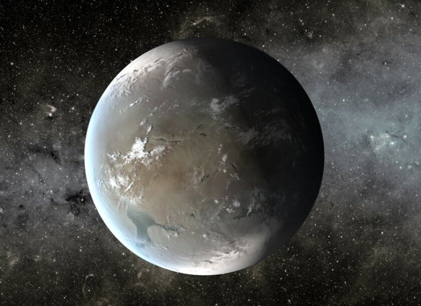 "Artist's rendering of planet Kepler-62f, which NASA says ""orbits (its sun) every 267 days and is only 40 percent larger than Earth, making it the smallest exoplanet known in the habitable zone of another star."""
