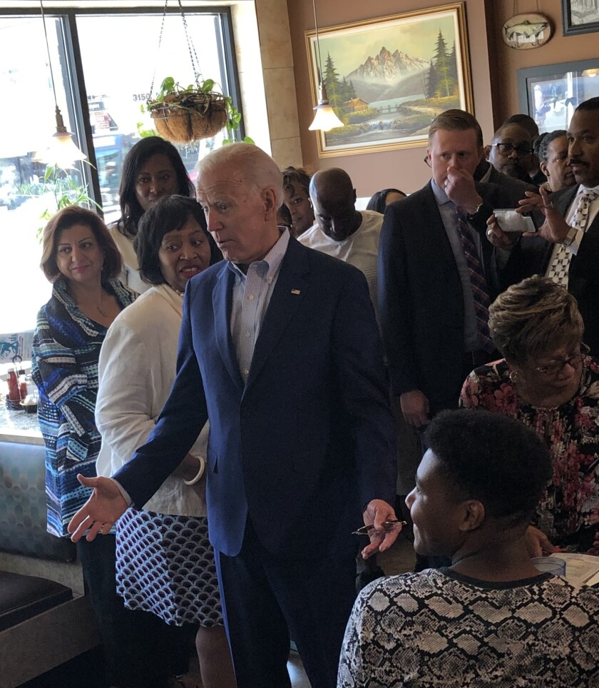 Former Vice President Joe Biden greets customers at a diner in Detroit the day after he took part in the Democratic debate in the city in July.