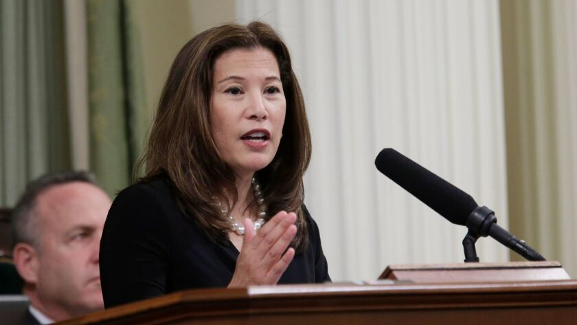 California Supreme Court Chief Justice Tani Cantil-Sakauye speaks in Sacramento in 2014