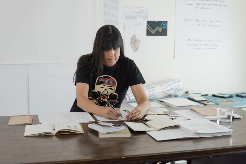 PHOENIX, ARIZONA - SEPTEMBER 14: Portrait of Natalie Diaz in her studio in Phoenix, AZ on September