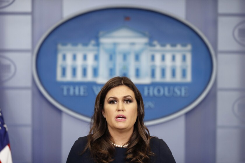 White House press secretary Sarah Huckabee Sanders speaks during a press briefing at the White House on Oct. 31, 2017, in Washington.