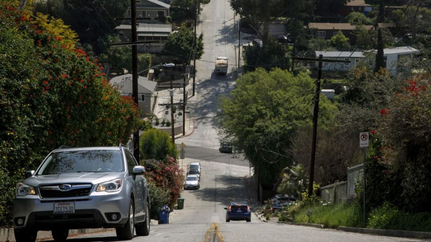 LOS ANGELES, CALIF. -- TUESDAY, APRIL 3, 2018: Baxter Street is one of the steepest streets in L.A.