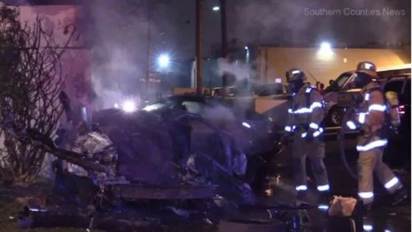 Two people were killed Saturday in a crash involving street racing in Anaheim, authorities said.