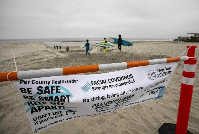 Signs alerting beach users
