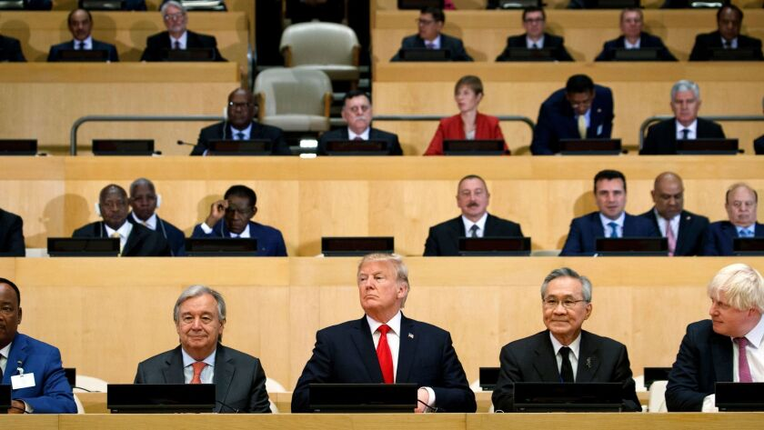 President Trump chairs a meeting on reforming United Nations operations and agencies during the U.N. General Assembly on Monday, Sept. 18, 2017.