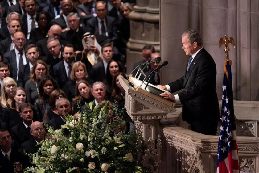 Former US President George W. Bush delivers a eulogy at the state funeral service for his father, former US President George H.W. Bush, at the National Cathedral in Washington, DC, USA, 05 December 2018. EPA-EFE/Chris Kleponis / POOL