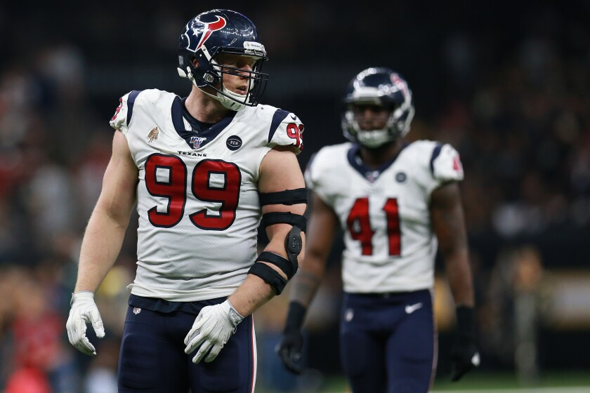 Houston Texans defensive end J.J. Watt looks on during a game against the New Orleans Saints on Sept. 9.