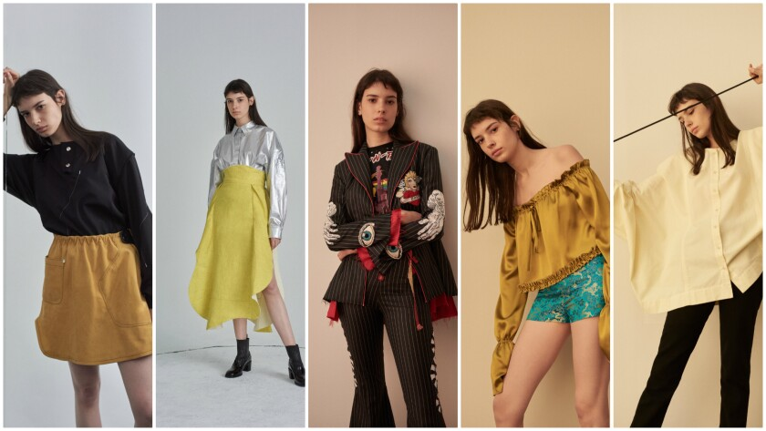 Spring looks from, left, Vejas, A.W.A.K.E., Dilara Findikoglu, Eric Schlösberg and Eckhaus Latta available at the Lab section of Space, the in-store boutique at Nordstrom at the Grove.