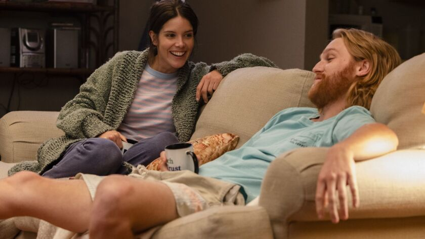 """Sonya Cassidy plays Liz Dudley and Wyatt Russell is Sean """"Dud"""" Dudley in a scene from """"Lodge 49."""""""