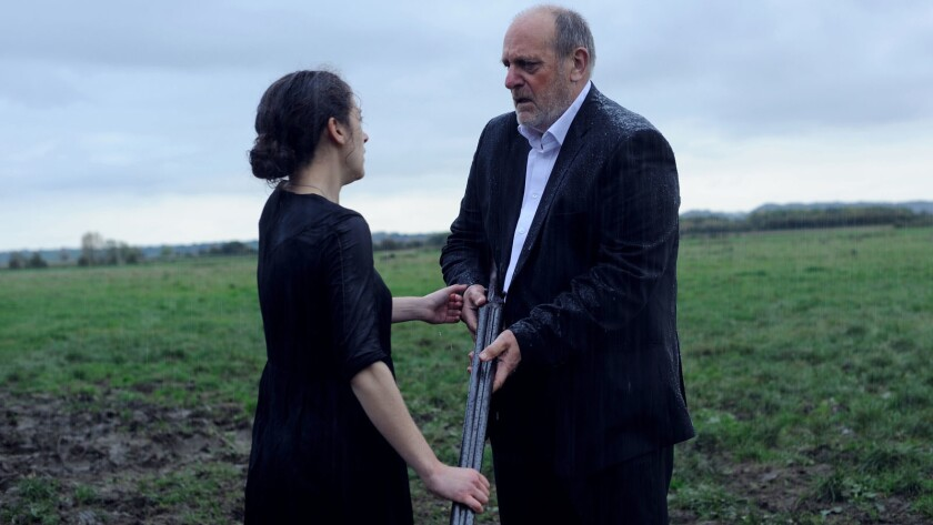 """Ellie Kendrick and David Troughton in the film """"The Levelling."""""""