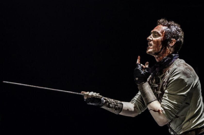 """Tom Hiddleson in the Donmar Warehouse production of """"Coriolanus."""""""