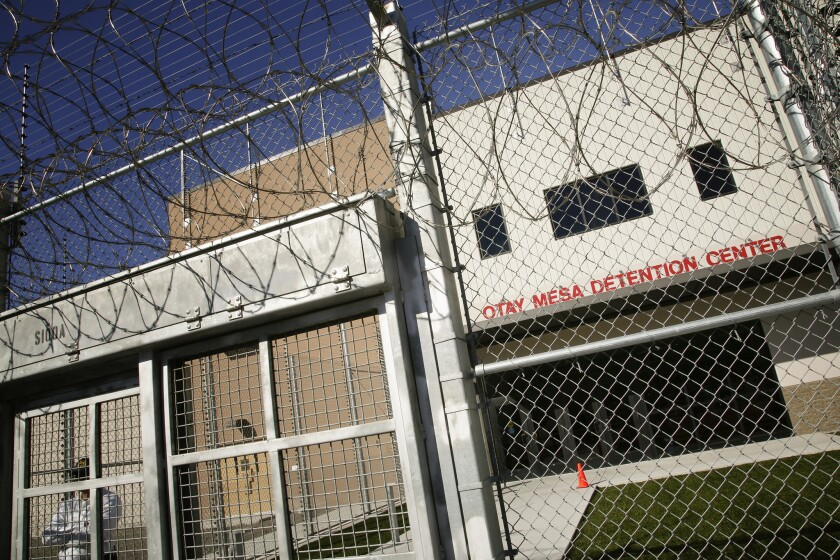 The main entrance to Otay Mesa Detention Center in south San Diego, California.