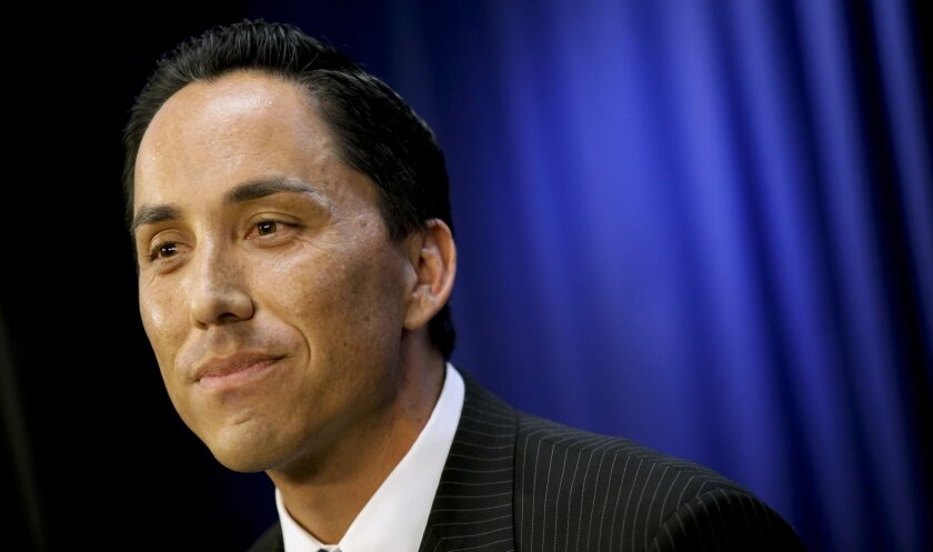 Interim San Diego Mayor Todd Gloria holds his first City Hall weekly media briefing, Thursday, since assuming the position after former Mayor Bob Filner resigned Aug. 30 amid a sexual harassment scandal.