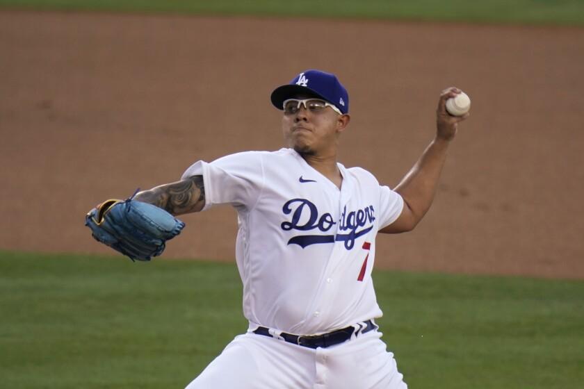 Los Angeles Dodgers starting pitcher Julio Urias
