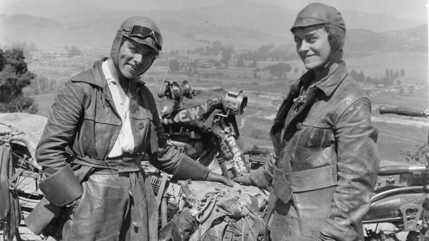 Augusta Van Buren, left, and sister Adeline during their 1916 cross-country motorcycle trip.