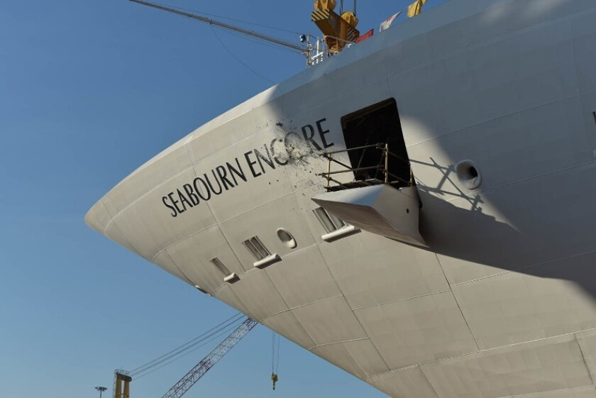 Seabourn celebrated the float out of its new Seabourn Encore last Friday at Fincantieri's Marghera shipyard in Italy. A bottle breaks on the ship's bow to mark the occasion.