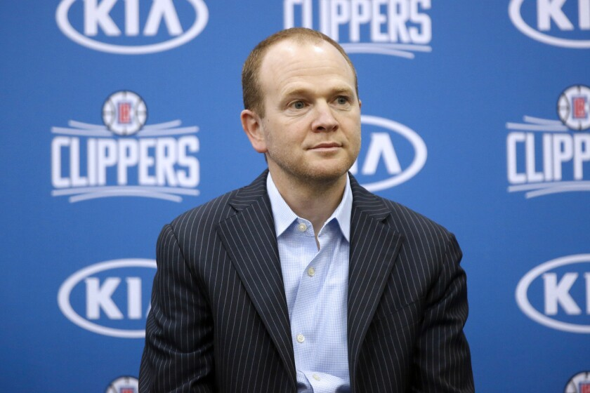 Lawrence Frank, the Clippers' president of basketball operations, addresses the media.
