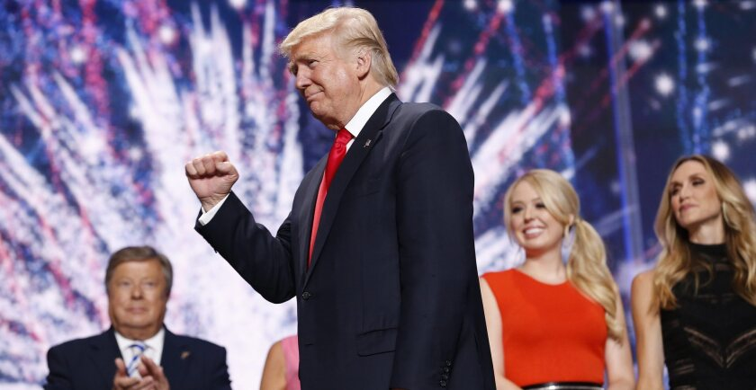 Presidential candidate Donald Trump at the Republican National Convention