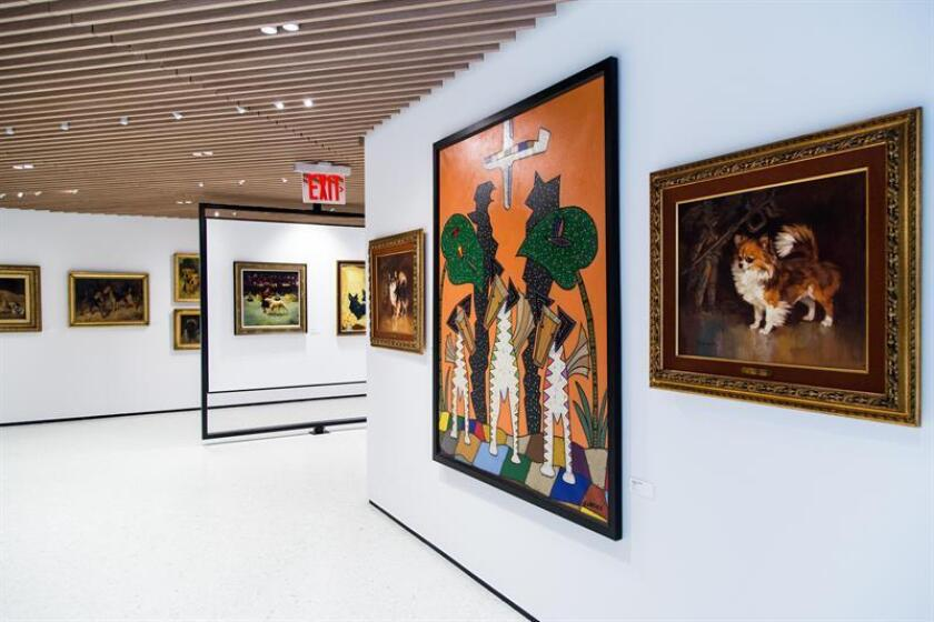 Art pieces featuring dog breeds are on display in the galleries at the Museum of the Dog in New York, New York, USA, 28 January 2019. (issued 03 February 2019). EFE/EPA