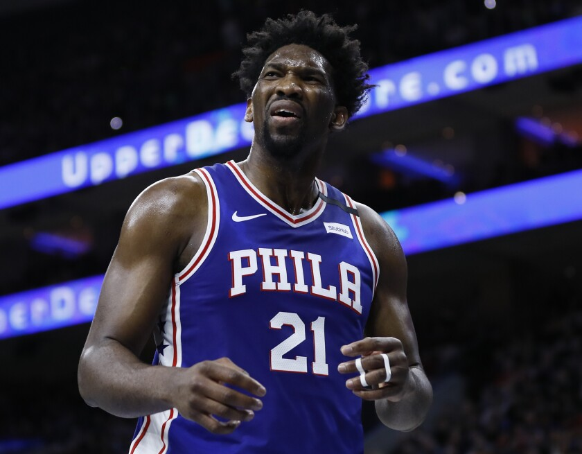 76ers' Joel Embiid plays in a game against the Atlanta Hawks on Monday in Philadelphia.