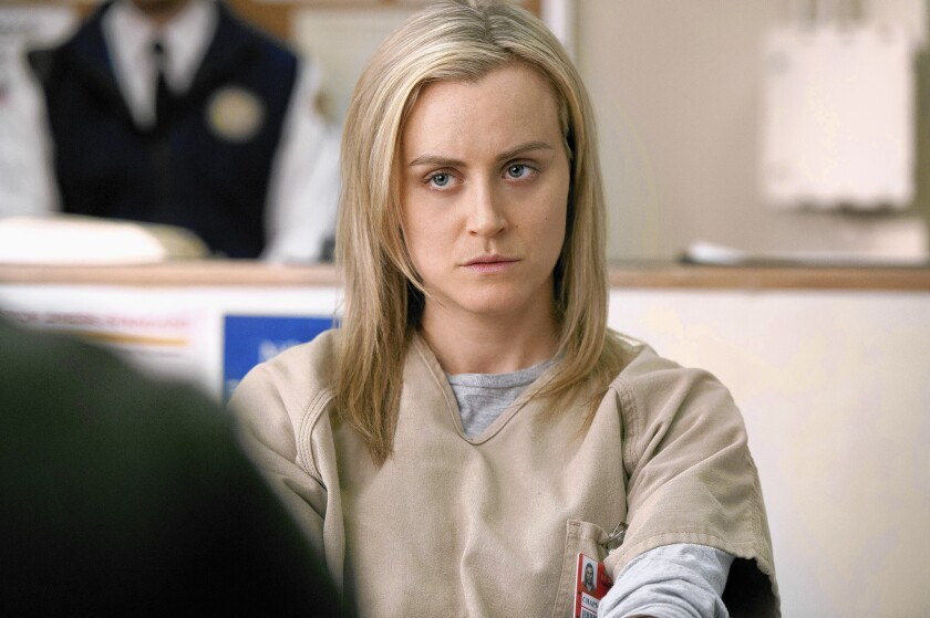 """Television is undergoing a considerable growth spurt in original programming as broadcasters are being elbowed by streaming sites such as Netflix. Above, Taylor Schilling in a scene from Netflix's """"Orange is the New Black."""""""